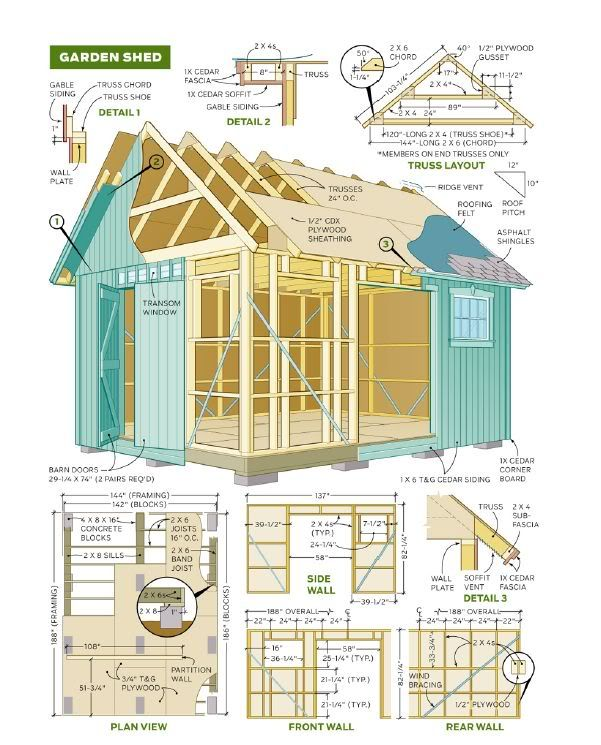 Free Building Plan For A Transitional Backyard Deck: Shed Plans Free 8×8 Gambrel Roof Storage Shed