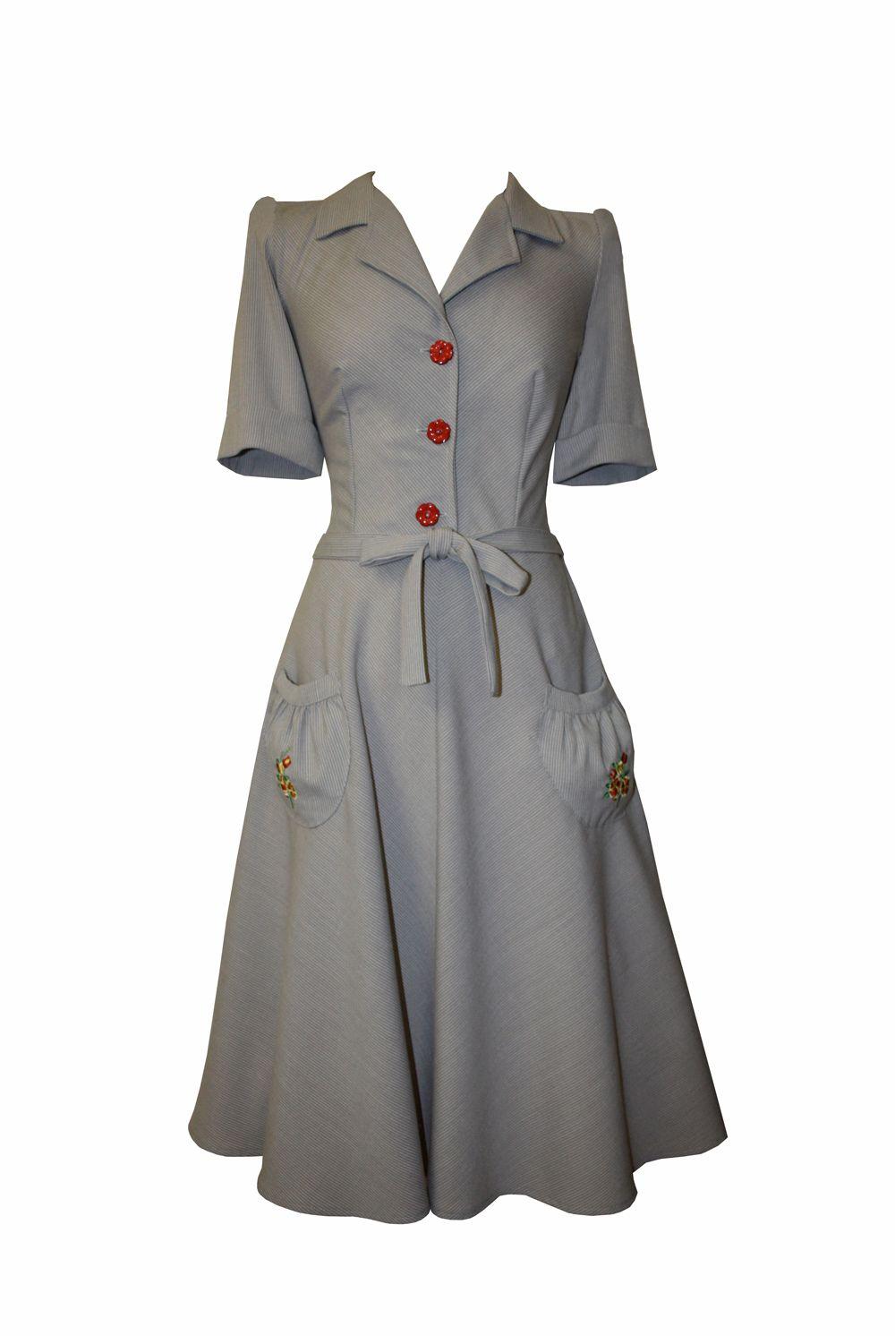 Tara Starlet 1940s 40s Style: Homefront Dancing Dress Embroidered Pocket