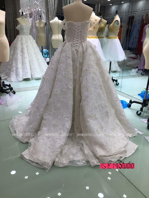 Romantic appliques lace off shoulder wedding dress custom with