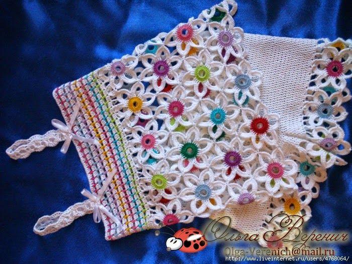 Conjunto de blusa y minishort para niña tejido al crochet con patron