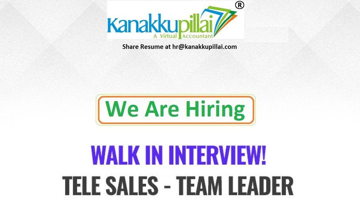 Hiring for team leader sales in chennai walk in 1007