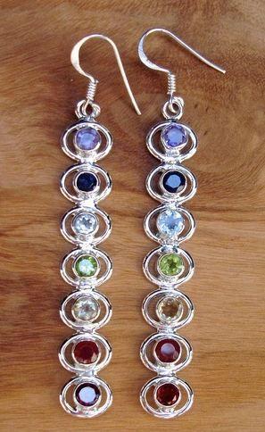 Mistry Gems offers E25MUL MULTISTONE LONG CHAKRA EARRINGS at Just £45.00  #MultistoneSilverJewellery