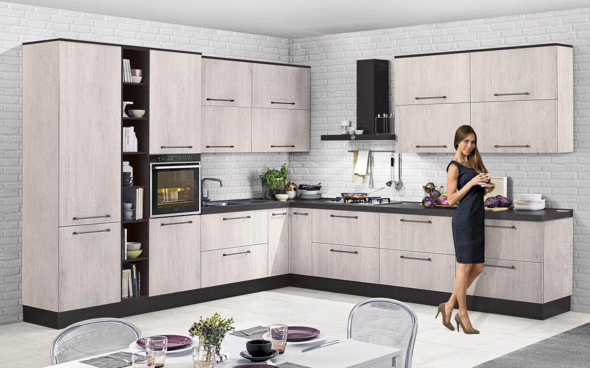 Cucina componibile, effetto quercia bianco Urban ZDJY