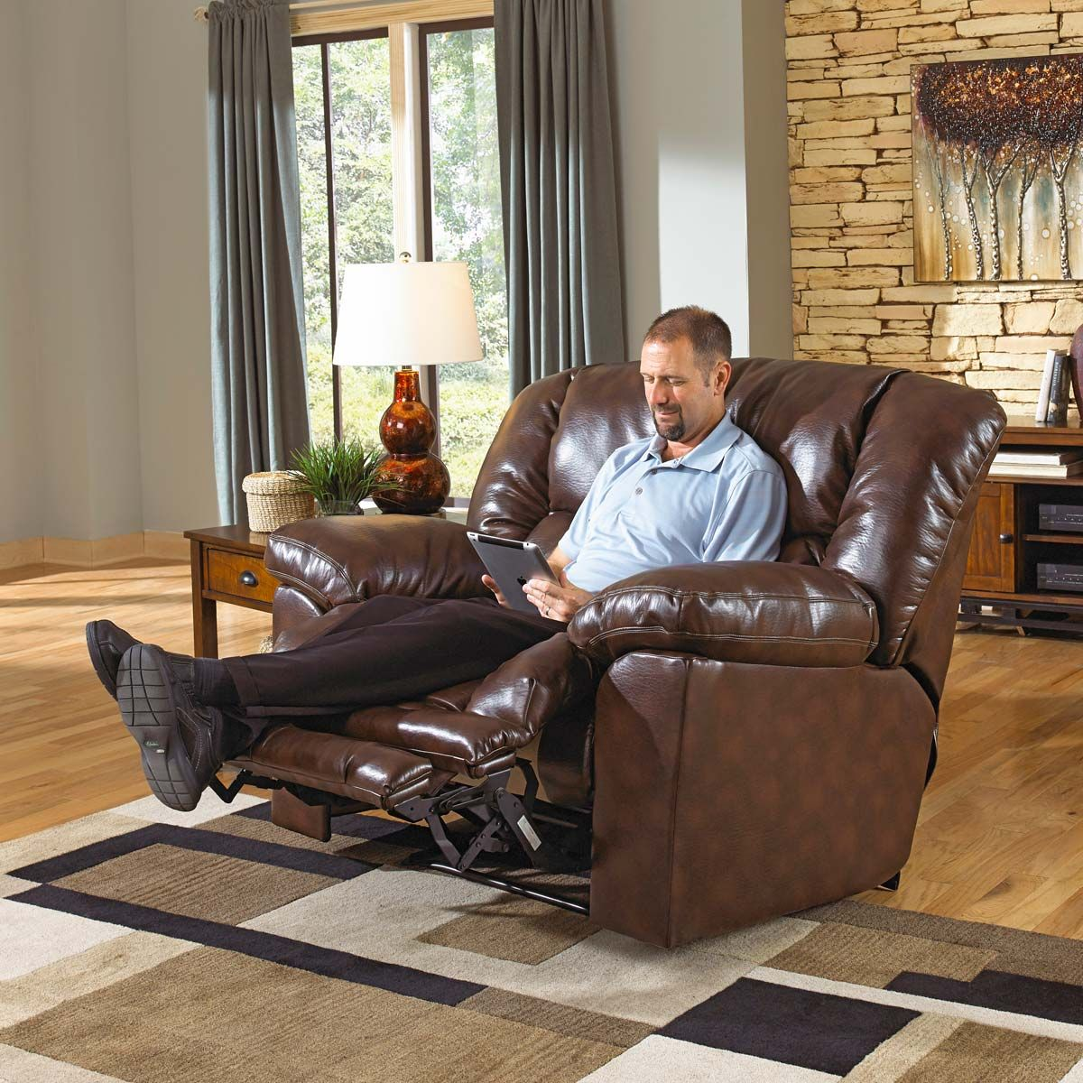 Pleasing Catnapper Foster Bonded Leather Power Lay Flat Recliner With Pabps2019 Chair Design Images Pabps2019Com
