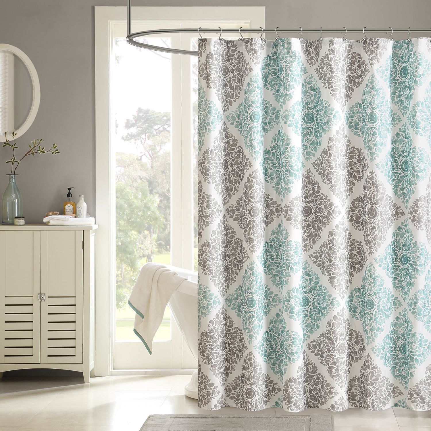 Extra Long Shower Curtain Liner For Your Bathroom Decor Ideas: Modern  Bathroom Design With White