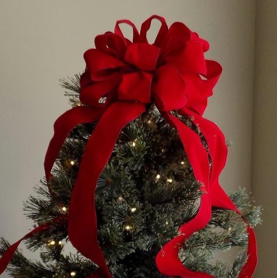 Red Velvet Christmas Tree Topper Bow Decoration