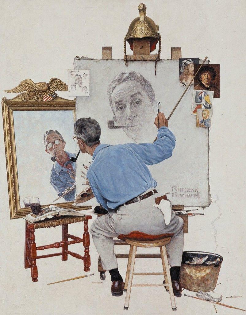 Norman Rockwell (triple auto-portrait)