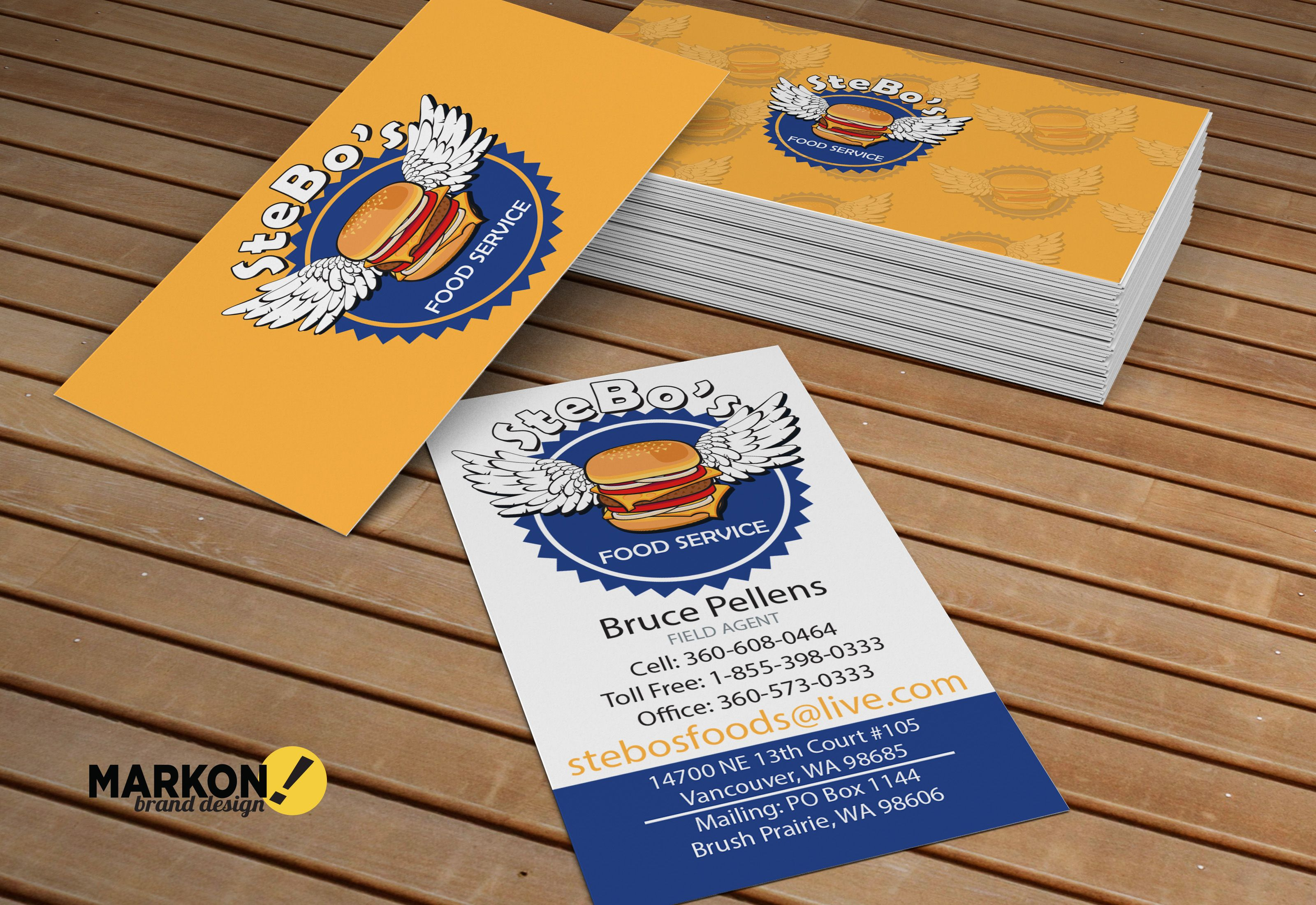 Business cards for stebos food service we love the yellow and blue business cards for stebos food service we love the yellow and blue the burger reheart Choice Image