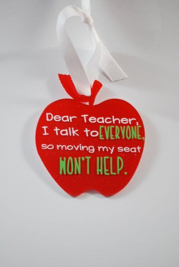 Teacher Ornament - Glitter Apple Moving Seat