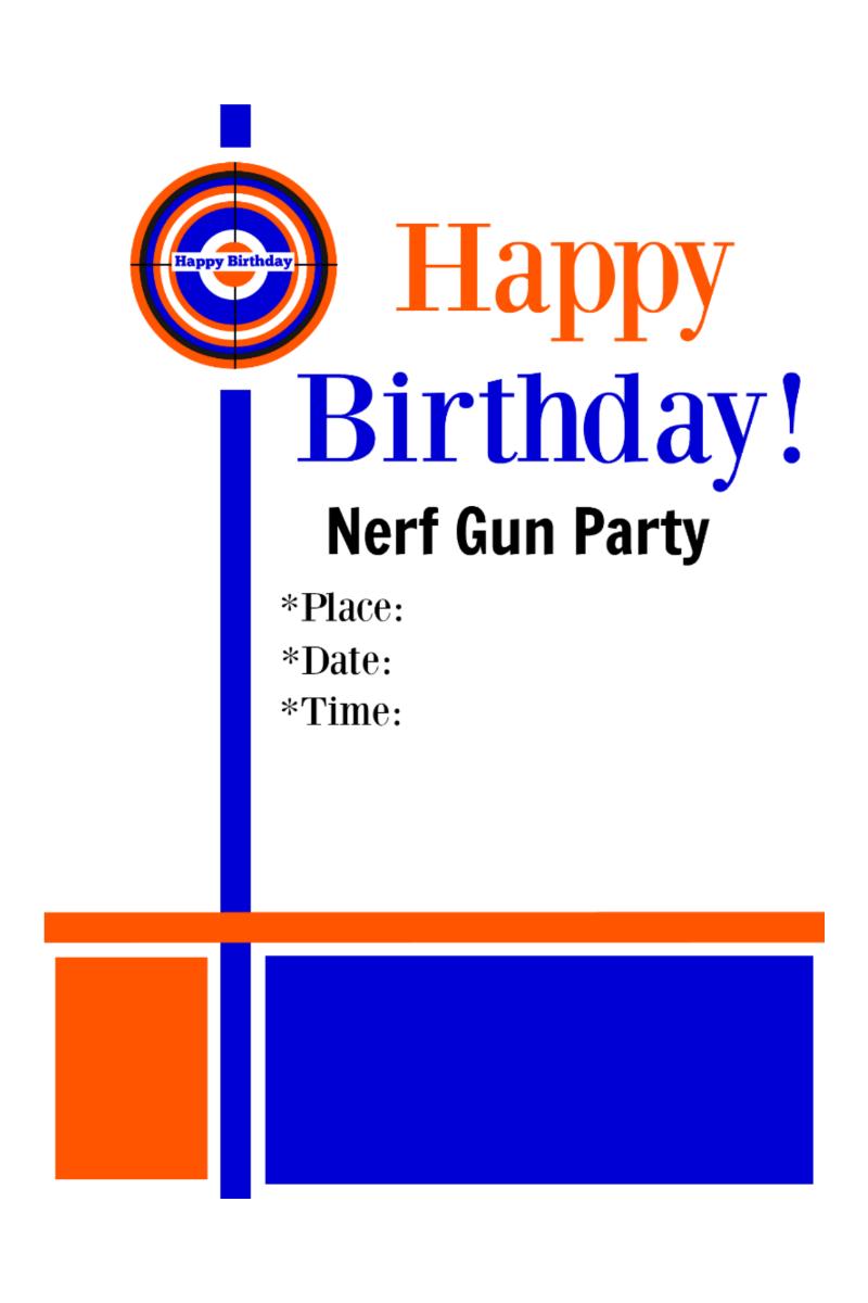 Delightful Birthday Party Invitation. Nerf GunBirthday ...
