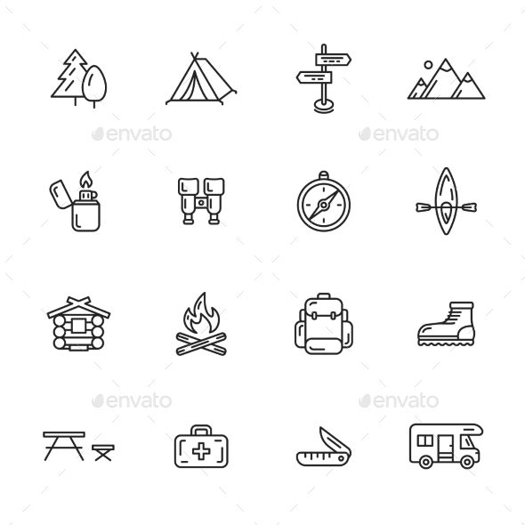 Camping, hiking and outdoor thin line icons Includes the