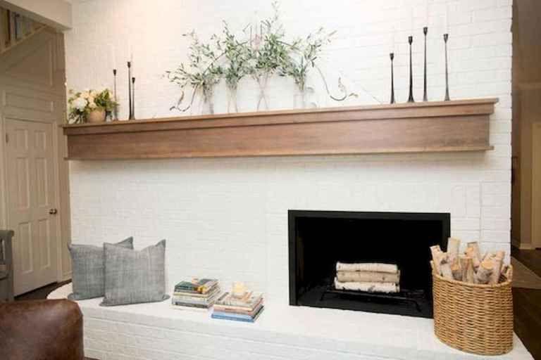 40 Best Modern Farmhouse Fireplace Mantel Decor Ideas 35 White Brick Fireplace Fireplace Mantel Decor Fireplace Design