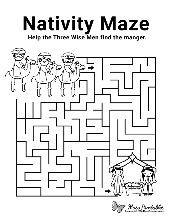 Free printable Nativity maze. Download it from https ...