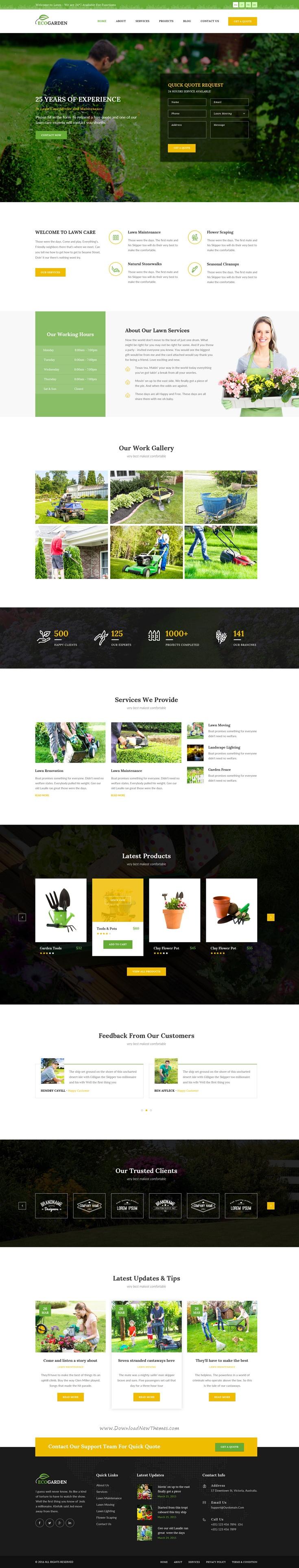 Eco Garden Lawn Gardening Psd Template Psd Templates Eco Garden Website Design Services