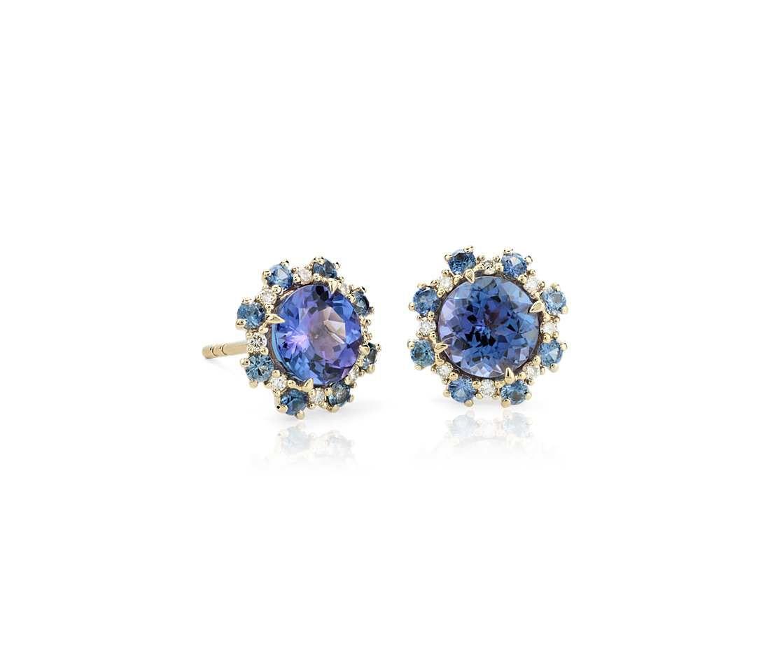 16fb9cbdf Tanzanite Stud Earrings with Sapphire and Diamond Halos in 14k Yellow Gold  (6mm)