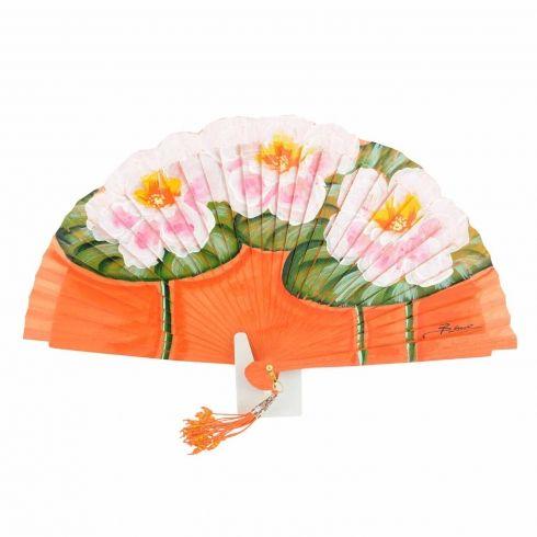 Abanico diseño de hojas y flores rosas
