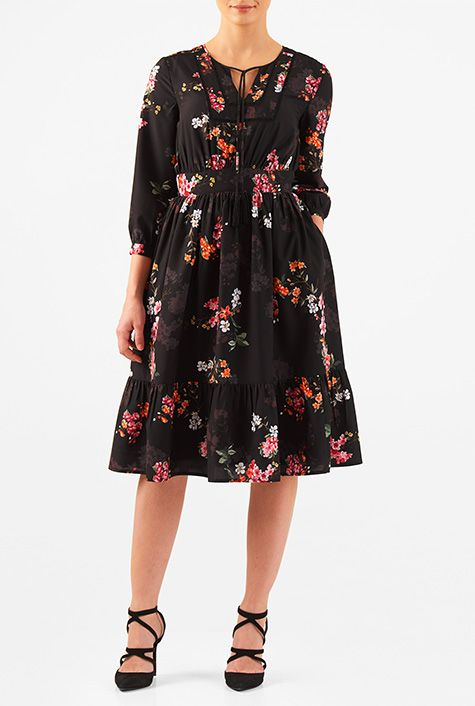 I <3 this Floral print tie front ruched crepe dress from eShakti