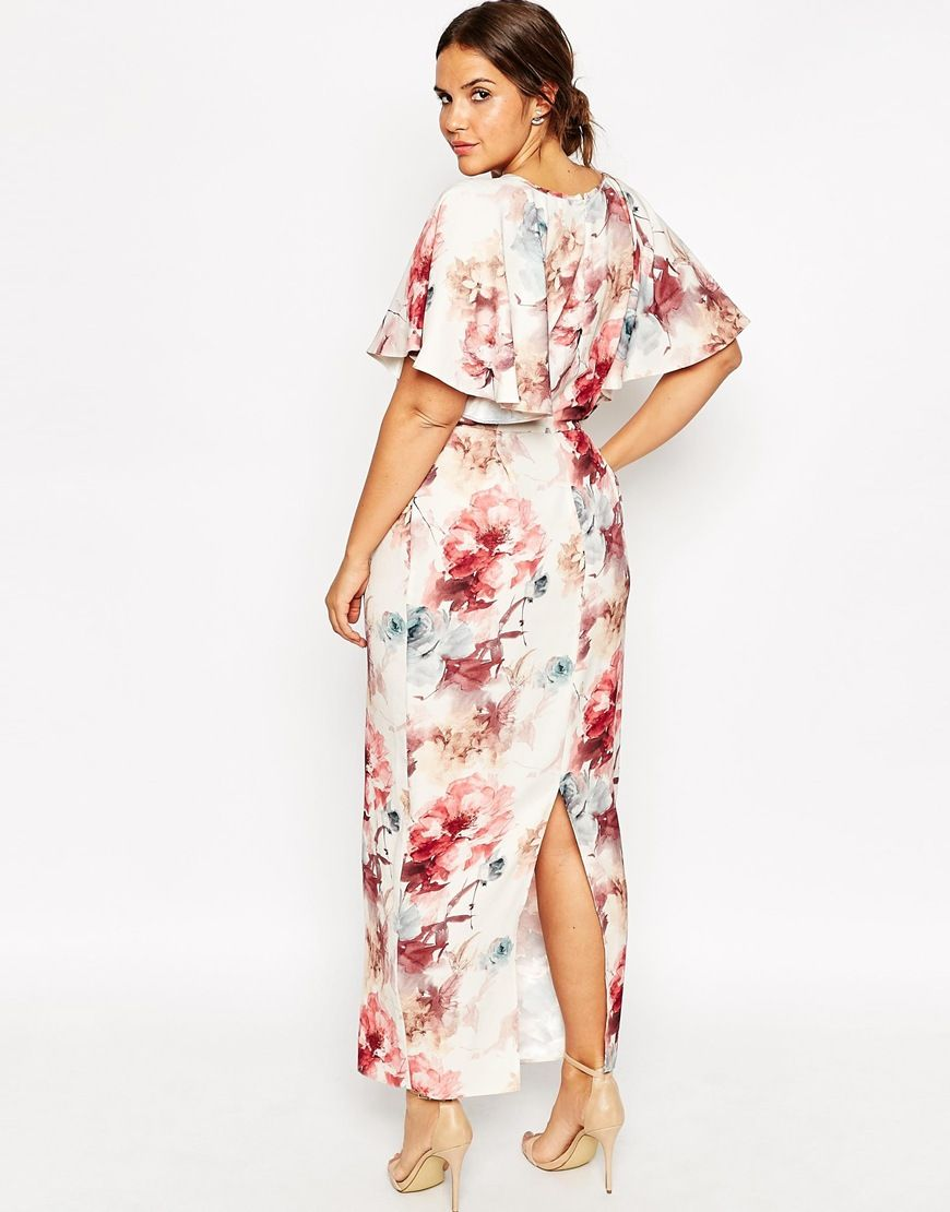 Image 2 of ASOS CURVE Flutter Sleeve Maxi Dress in Painterly ...