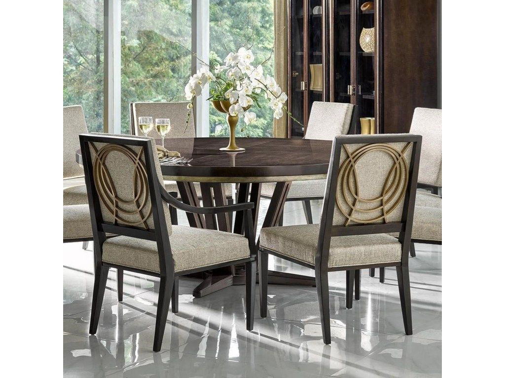 "Deco Le Cercle 72"" Round Single Pedestal Dining Tablefine Beauteous Single Dining Room Chair 2018"
