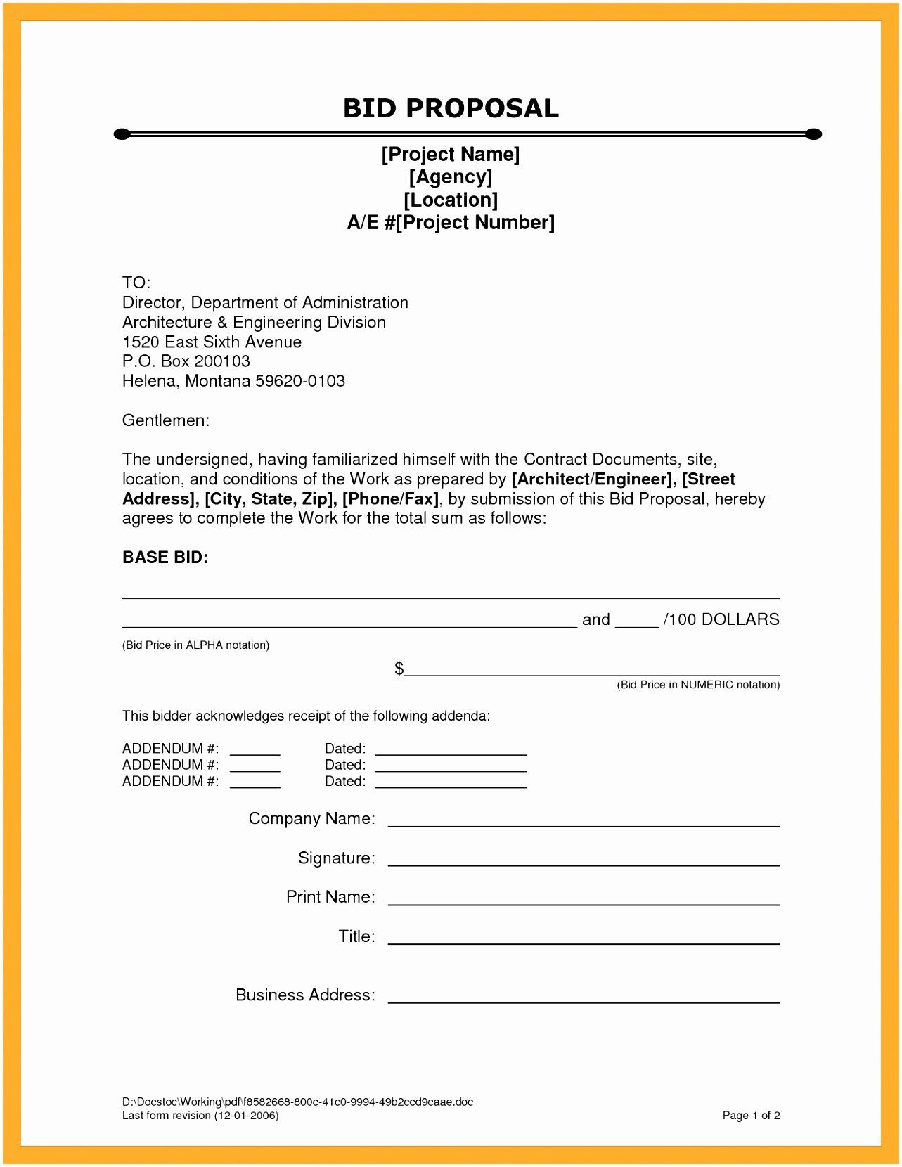 Construction Proposal Template Word In 2020 Proposal Templates