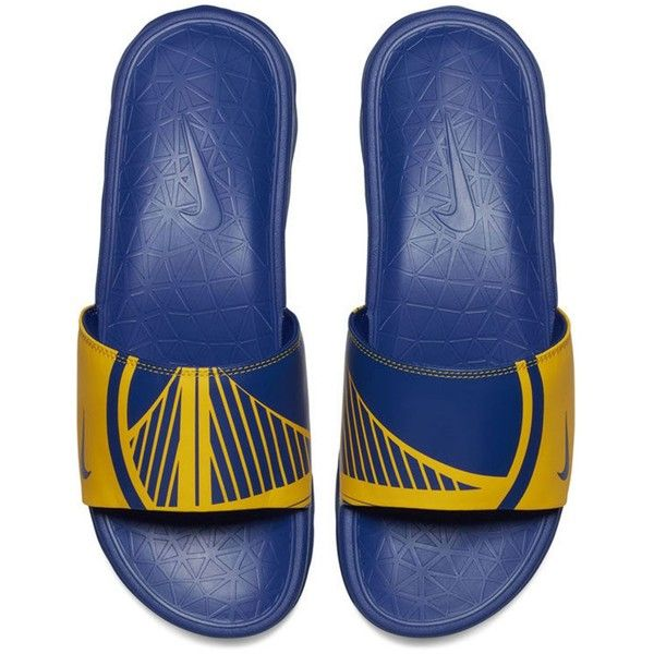3a43d6521f4a4 Nike Men s Golden State Warriors Benassi Solarsoft Slides ( 45) ❤ liked on  Polyvore featuring