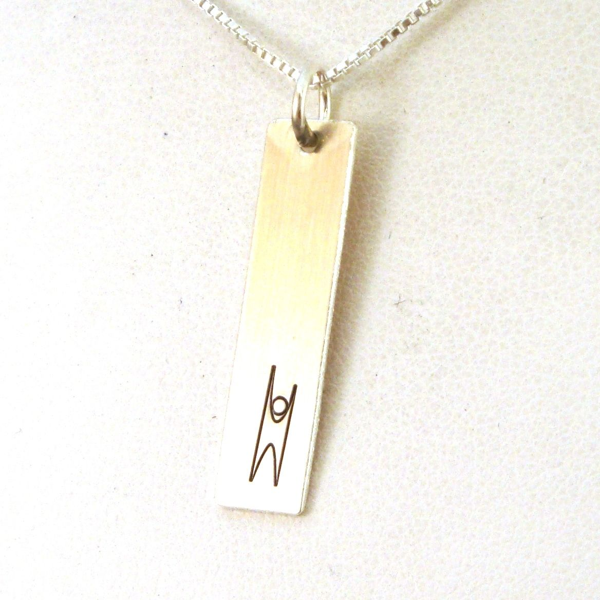 Humanist symbol necklace rectangle symbols hand stamped humanist symbol necklace rectangle crow steals fire buycottarizona Gallery