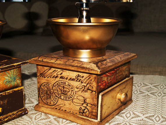 Coffee mill / Coffee grinder / Decoupage technique mill grinder vintage retro…