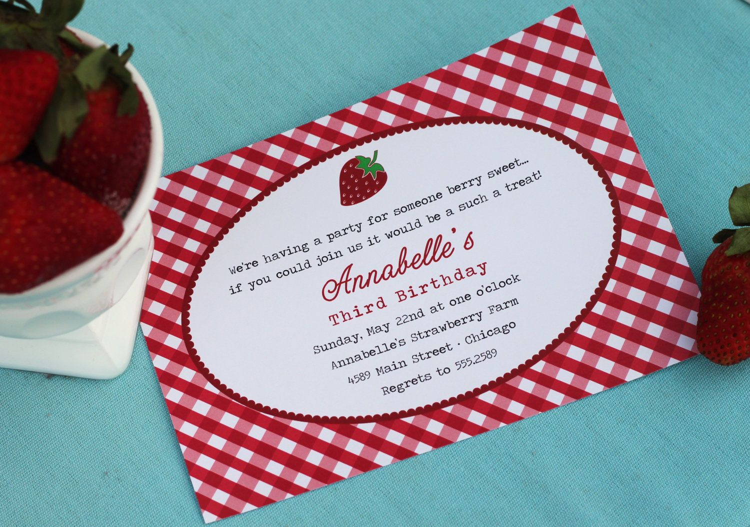 Diy Printable Gingham Strawberry Party Invitations By Partypapers