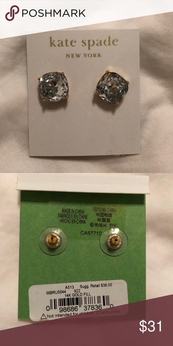bbd84e324 Kate Spade earrings kate spade new york Small Square Stud Earrings Clear/  gold fill metal kate spade Jewelry Earrings
