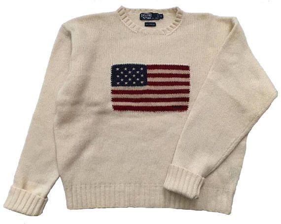 8993b9adb Vintage 80s 90s Ralph Lauren Polo American Flag Sweater 100%