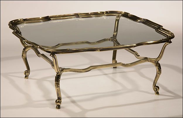 Cast Solid Brass Table With Antiqued Brass Finish And Clear Glass
