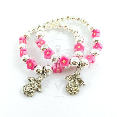 7ca11ba6f29b Pack de 10 pulseras Florecitas para niñas. Bolitas de metal combinadas con  flores de fimo en color rosa.  Tamaño pequeño
