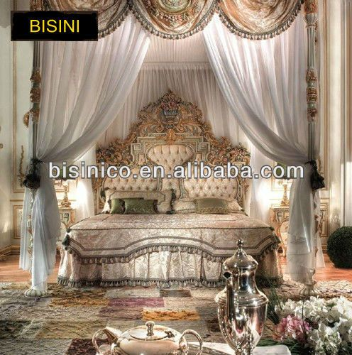 New Bedroom Furniture 2014 bisini new classical style bedroom set/solid wood hand carved bed