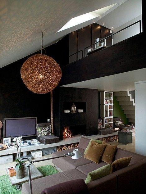 modernen schwarz Wohnzimmer Ideias para Micro Apartamentos - wohnzimmer design schwarz