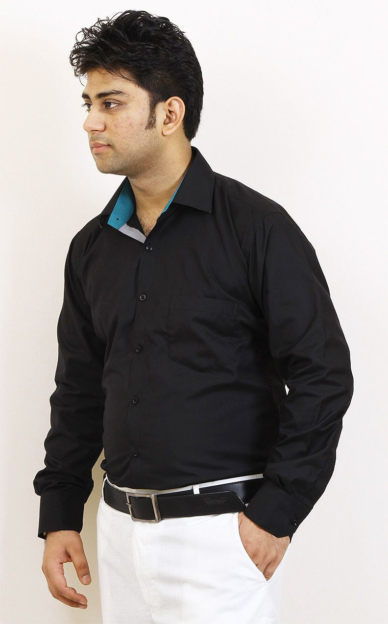 beda5b57050 Buy Black and Blue Party Wear Cotton Shirt For Men Online in India ...