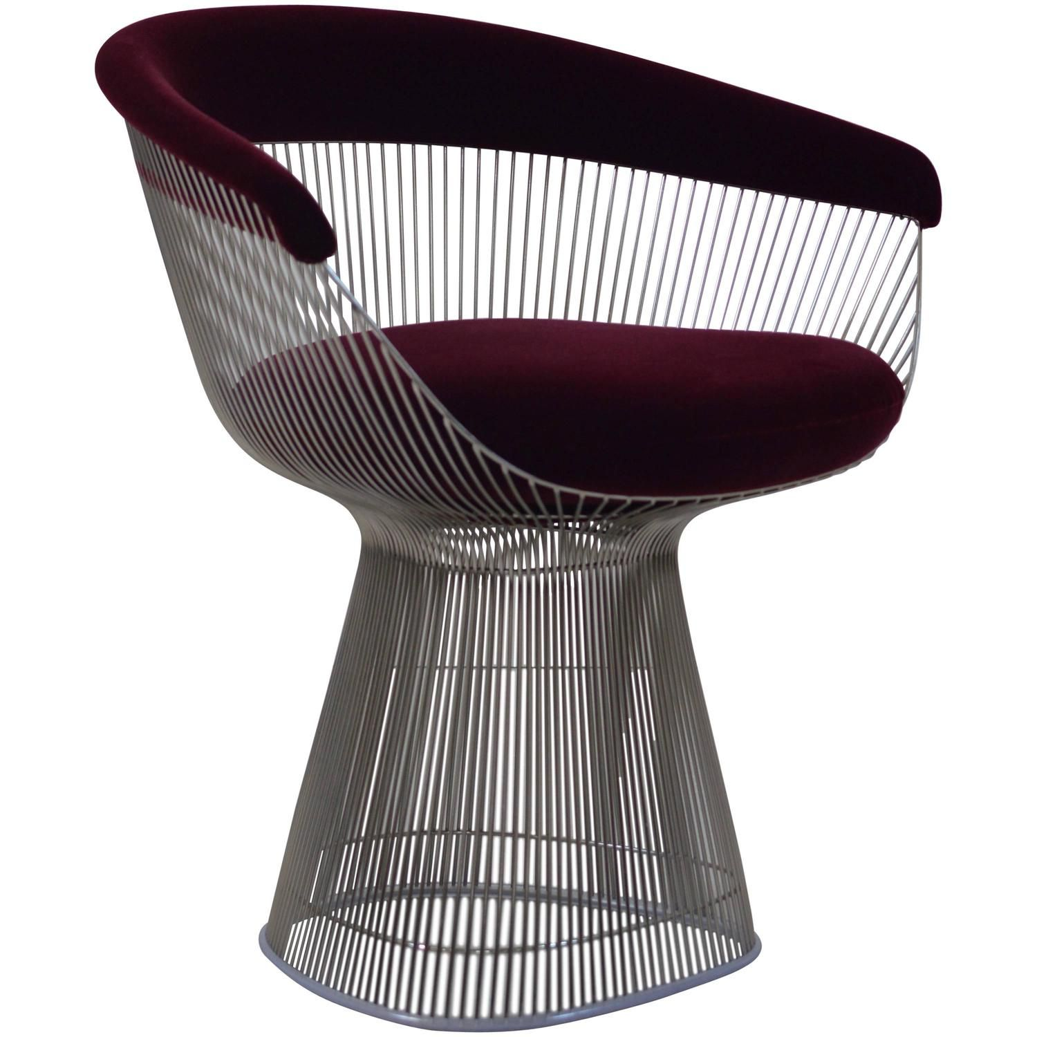 Burgundy Velvet Warren Platner Wire Chair For Knoll