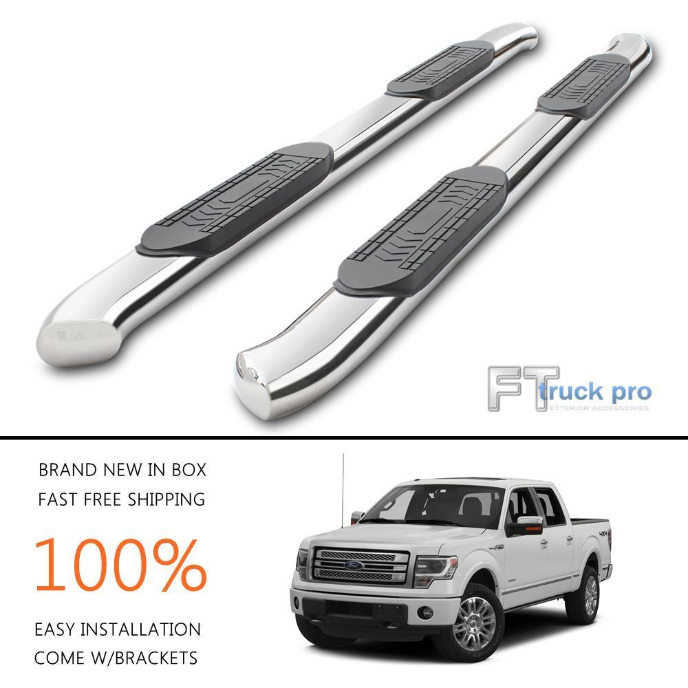 Bent Nerf Bars Side Steps Running Boards For   Ford F Crew Cab  Door