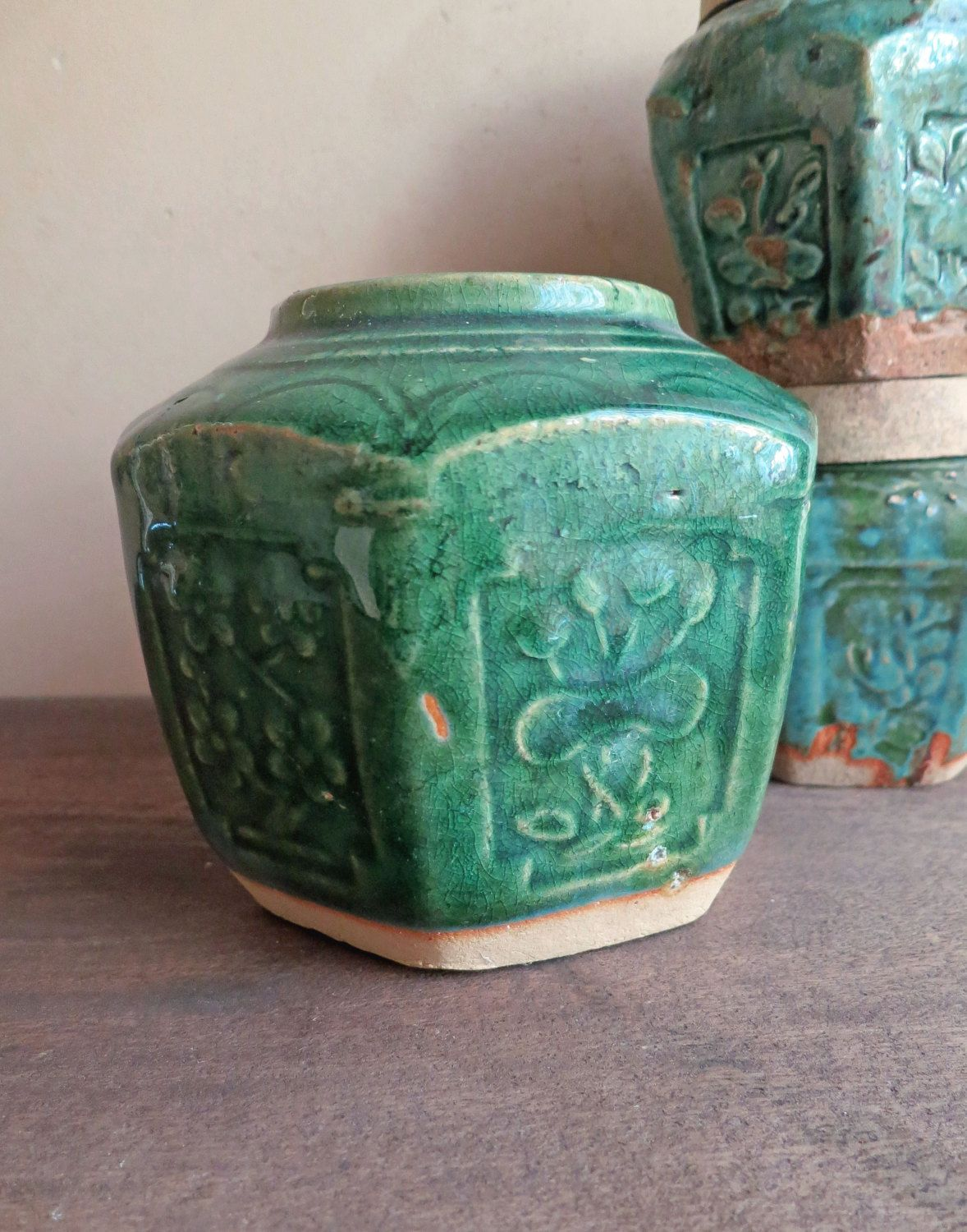 Large Green Ginger Jar Pot Chinese Drip Glaze Asian Pottery Shiwan Burial By Minniesflea On Etsy