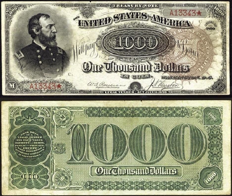 1890 One Thousand Dollar Treasury Note World Banknotes Coins Old Money Currency Notes World Paper Money Money Notes Paper Currency Bank Notes