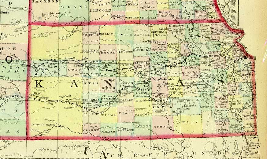 1872 County Map of Kansas. My maternal grandmother was born in ...