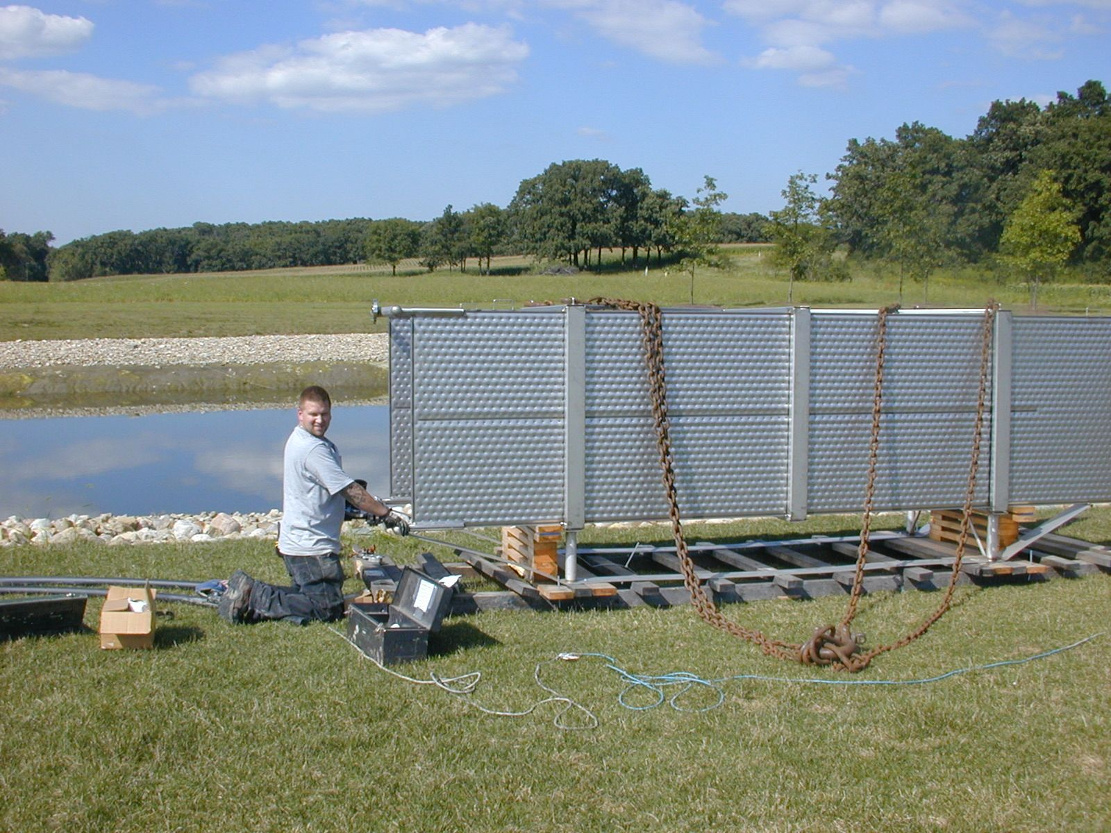 Airease Heating and Cooling geothermal pond install