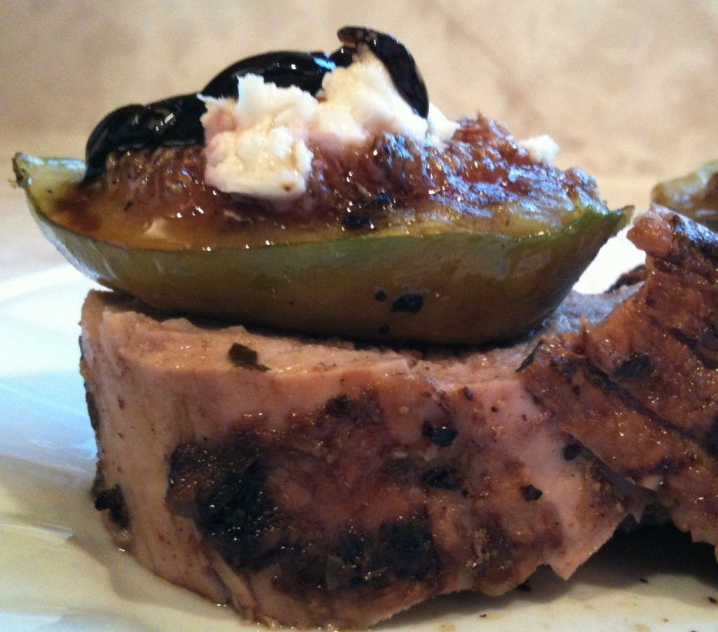 Pork Tenderloin with fig/goat cheese.... Drizzled honey