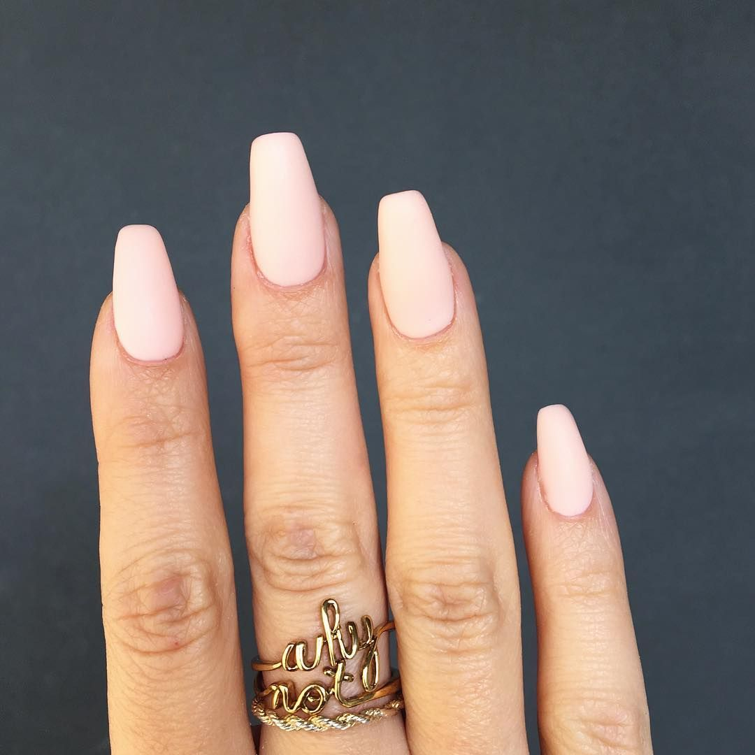 Natural Almond Shape Nails With A Matte Baby Pink