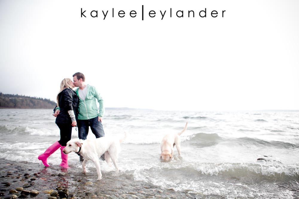 Engagement Session with dogs and rain boots