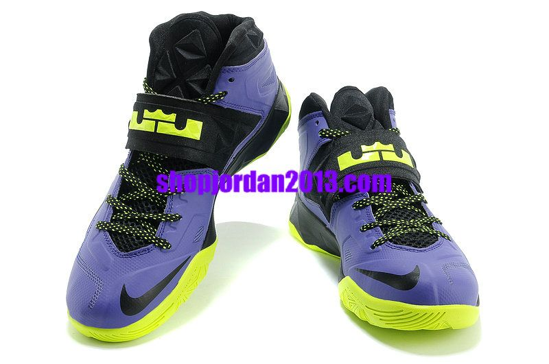 ac803db5941 Nike Zoom Lebron Soldier 7 Black Purple Fluorescence Green Lebron James  Shoes  Purple  Womens  Sneakers