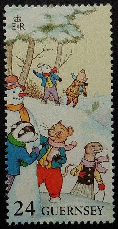 Items similar to Willie & Rupert the bear -Handmade Framed Postage Stamp Art 18577 on Etsy