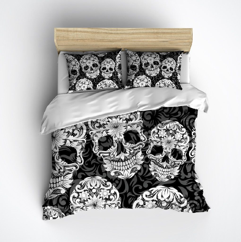 Black White And Grey Sugar Skull And Scroll Bedding Duvet