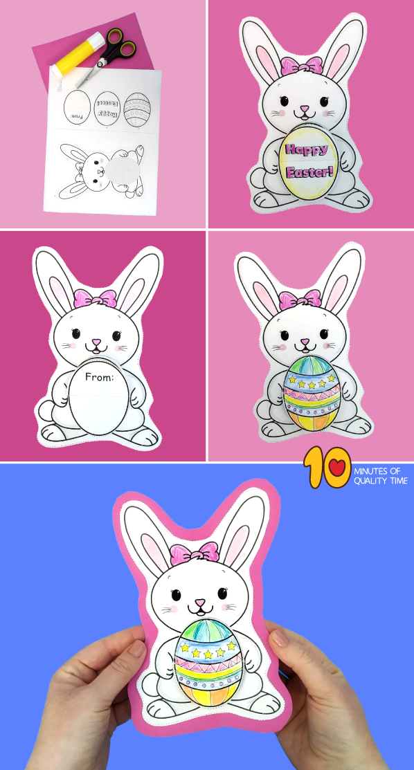 Easter Bunny Flip Card Printable Template Bunny Coloring Pages Flip Cards Easter Bunny Colouring