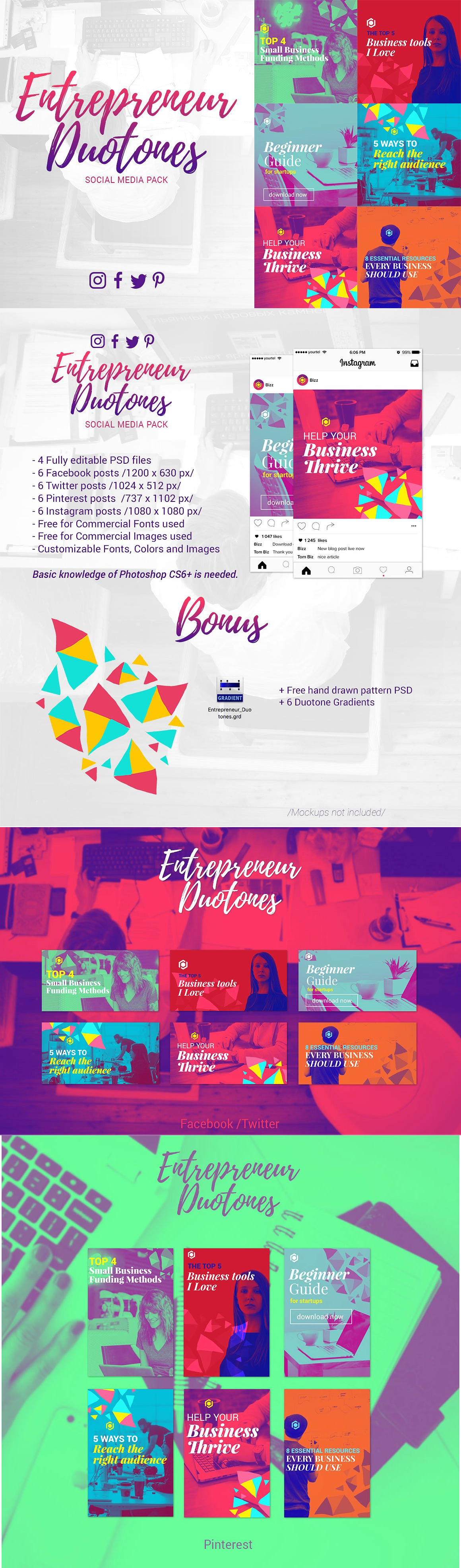 entrepreneur duotones social media templates psd social media