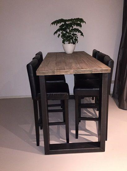 Hoge tafel eefje stalen u poten balken 80cm breed in for Houten bartafel